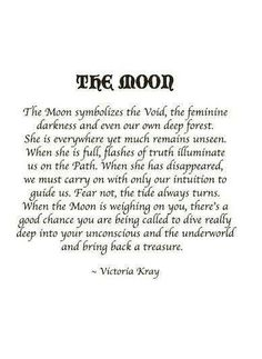 The Moon symbolizes the void, the feminine darkness and even our own deep forest. Quote from Victoria Kray | dark ride |