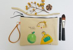 Your place to buy and sell all things handmade Presents For Her, Fabric Markers, Bubble Envelopes, Craft Items, Zipper Pouch, Cosmetic Bag, Wristlets, Cotton Canvas, Hand Drawn