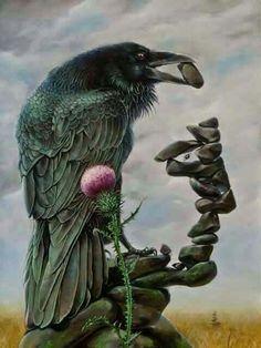 Raven Painting - Memento Mori by Konstantin Korobov Crow Art, Raven Art, Bird Art, Illusion Kunst, Illusion Art, Optical Illusion Paintings, Optical Illusions Pictures, Illusion Pictures, Arte Obscura