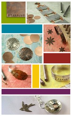 Lovely techniques used to stamp jewelry. Use one metal stamp to create repeating patterns.