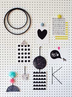 peg board for a kid's room - fun alternative to a bulletin board