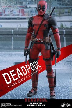 """DEADPOOL HOT TOYS MMS347 12"""" 1/6 SCALE COLLECTIBLE FIGURE NEW MISB 902628 2016 #HOTTOYSSIDESHOW #actionfigure"""