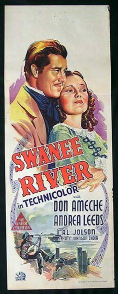SWANEE RIVER '39 Don Ameche AL JOLSON RARE Long Daybill poster