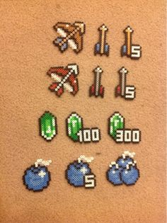Perler Beads: Zelda items and Ganon Perler Bead Templates, Diy Perler Beads, Pearler Beads, Fuse Beads, Melty Bead Patterns, Pearler Bead Patterns, Perler Patterns, Beading Patterns, Perler Bead Mario