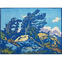 "WILLIAM RICE (American, 1873 - 1963) Color woodblock print on handmade paper, ""Windy Summit,"" California;"