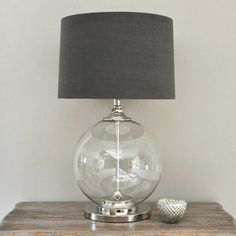 Glass Ball Table Lamp and Gray Shade by Primrose & Plum contemporary-table-lamps