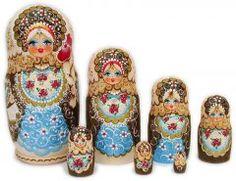 Large Woodburn Blue 7 pc Russian nesting dolls.