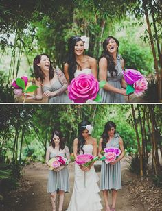 20 Ideas for Alternative Wedding Bouquets: Instead of a cluster of smaller paper flowers, why not go with one or two statement flowers? These over-sized paper flowers brighten the wedding party's neutral attire and add a whimsical quality. Alternative Bouquet, Alternative Wedding, Wedding Bouquets Pictures, Wedding Ideias, Photo Souvenir, Giant Paper Flowers, Fake Flowers, Paper Roses, Paper Flowers Wedding
