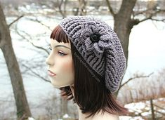 This crocheted hat is soon to become your new Favorite Textured Slouch Hat. It is a quick crochet pattern to work up that features a unique reversible texture and a decorative crocodile stitch crochet flower. Crochet Adult Hat, Crochet Cap, Crochet Beanie, Free Crochet, Knitted Hats, Crochet Granny, Crochet Crafts, Crochet Projects, Quick Crochet Patterns