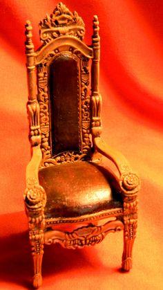 Dollhouse Gothic Chair -  Halloween Chair - Doll House Ornate Chair - 1 12th Scale. $10.25, via Etsy.