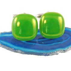 fused glass cufflinks  lime green uk seller by bluedaisyglass, £15.00