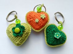Set of three keychains Crochet hearts keychains Gifts for friends Small gifts Party Favors keychain charms Cute Colourful hearts Bag Charms