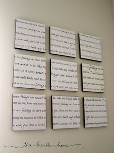 lyrics to your wedding song modpodged onto canvas