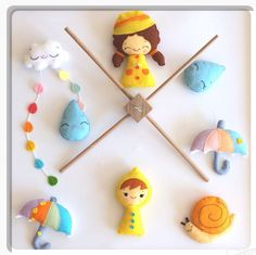 Baby mobile raindrops girl boy cloud snail by BalloonaLuna on Etsy