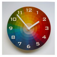 Objectify Color Wheel Wall Clock With Numerals - Medium Size Rainbow House, Love Rainbow, Flooring On Walls, Home Clock, Kitchen Wall Clocks, Rainbow Connection, Wooden Clock, Home Wall Decor, Art Studios