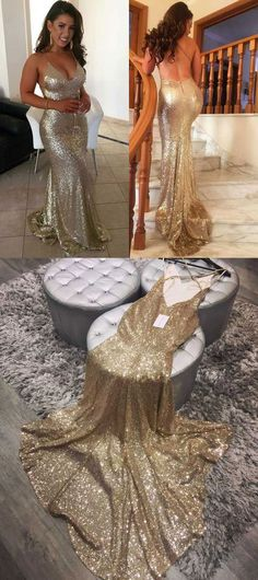 gold backless long prom dresses, dresses for women, v neck prom dresses , women's dresses, long mermaid long prom dresses