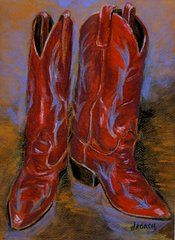 Cowboy Boots Paintings - Red Riders by Jennifer Koach