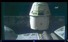 NASA TV screenshot of SpaceX Dragon spacecraft departing ISS on Aug. 26, 2016.  This image, captured from NASA Television's live coverage, shows SpaceX's Dragon spacecraft departing the International Space Station at 6:10 am EDT Friday, Aug. 26, 2016, after successfully delivering almost 5,000 pounds of supplies and scientific cargo on its ninth resupply mission to the orbiting laboratory.