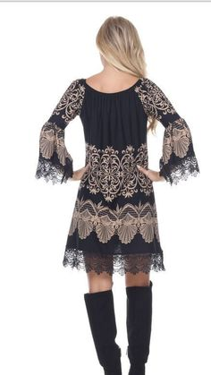Beige and black lace Dress Size Small-XL