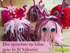 Un beau petit bricolage à faire en famille : des monstres en laine d'amour!! :-)