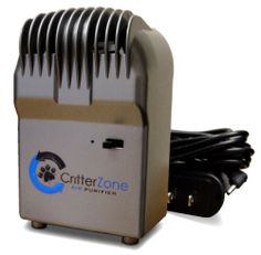 """The CritterZone Air Naturalizer is a compact plug-in device that can solve both the problem of a """"dog smelly"""" house and that of allergic people. CritterZone cleans the air and removes odors and allergens naturally, the way sunlight does outdoors. CritterZone Box Unit AdaptorCritterZone is remarkably small and noiseless, yet proven effective at removing the problematic particles from the air that cause odors and trigger allergies."""