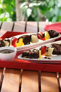 You won't need to fire up the grill for these tasty kabobs. Brownies and fruit get skewered, then drizzled with a rich chocolate sauce for a backyard barbecue-friendly dessert that's sweet, but not too sweet. Click through for a step-by-step video!