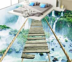 flooring wallpaper custom photo bed room mural waterfall rope bridge landscape painting PVC self-adhesive floor wallpaper