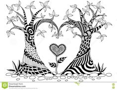 Abstract Trees In Heart Shape Stock Vector - Image: 71605408