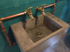 Handmade concrete sink with exposed copper piping and brass bib taps… Industrial Bathroom Vanity, Copper Bathroom, Bathroom Faucets, Small Bathroom, Bathroom Ideas, Bathroom Signs, Garage Bathroom, Industrial Wallpaper, Sink Taps