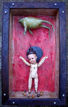 When The Strings Begin to Pull Back by brianwhiteart Mixed Media Sculpture, Collage Art Mixed Media, Sculpture Art, Shadow Box Art, Found Object Art, Bizarre, Junk Art, Creepy Dolls, Assemblage Art