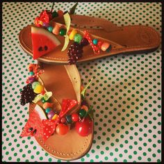 Handmade leather sandals with various beads (semi-precious, crystals, etc) and raisin summer fruits
