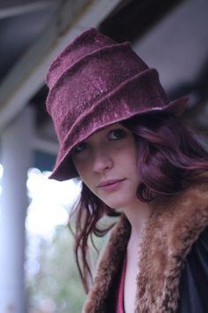 wet felted, hand sculpted, woollen hat by Samantha Goodburn, photo Thalea Hurron, model Ellen-Marie