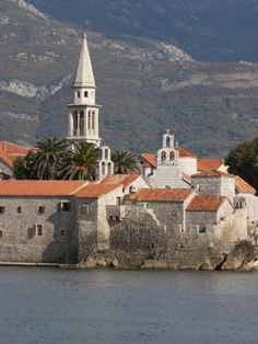 Budva Fortified Old Town on the Adriatic Coast with the Tower of St. John's Church, Budva, Monteneg
