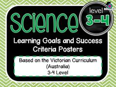 VICTORIAN CURRICULUM UPDATED TO VERSION 8.3 3-4 level All SCIENCE Learning Goals Success Criteria! VICTORIAN CURRICULUM This packet has all the posters you will need to display the learning goals for the whole year: Level 3 - 4 VICTORIAN Curriculum SCIENCE