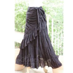 Sale 30% Off, Cotton Maxi Ruffled Wrap Skirt in Black. On etsy