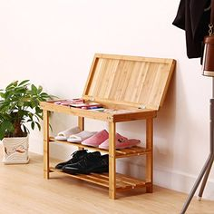 Amazon.com: Ollieroo 2 Tier Natural Bamboo Shoe Rack Organizer and Foot Stool with Storage Drawer on Top: Home & Kitchen