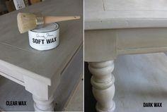Annie Sloan soft and dark wax on coffee table
