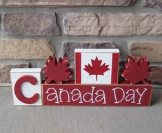 CANADA DAY BLOCKS with maple leafs and Canada flag blocks for table decor, desk, shelf, mantle, and party decor Bee Crafts, Wood Crafts, Canada For Kids, Canada Canada, Canada Day Crafts, All Block, Canada Day Party, Adult Crafts, Spring Crafts