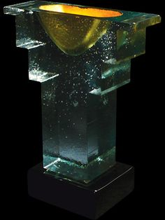"John Lewis    ""89-14 Gold Vessel""     1993    cast glass sculpture    18.5 x 14.25 x 6.75"""