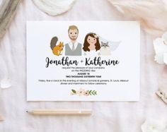 Wedding invitation with portraits. Wedding by DrawmepleaseShop Illustrated Wedding Invitations, Wedding Invitation Design, Wedding Stationery, Wedding Illustration, Wedding Plates, Invitation Cards, Invites, Wedding Timeline, Online Print Shop
