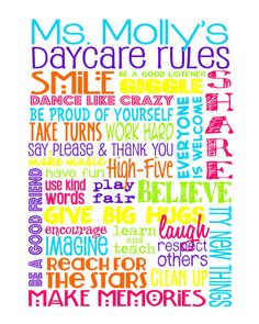 Daycare Rules – Personalized Sign – Daycare Gifts – Add Teacher's Name – Teacher Gift – Classroom Art – Childcare by libertyandlilacpaper. Explore more products on http://libertyandlilacpaper.etsy.com