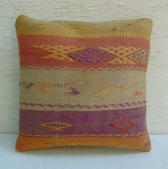 "MODERN Bohemian Home Decor,Handwoven Turkish Kilim Pillow Cover 16""x16"",Tribal Pillow,Vintage Kilim Pillow,Throw Pillow,Ethnic Pillow."