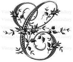 Antique FRENCH FLORAL ALPHABET Large Letter - C - Monogram Initial Plus Bonus Transparent Image Embroidery Sewing Pattern Stencil
