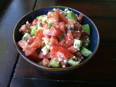 Tomato Cucumber Salad; Great way to use an excess of cucumbers and tomatoes and a fresh side salad for summer.
