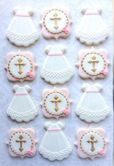 This listing is for 2 dozen delicious decorated cookies approximately 3.5 - 4 tall. 12 dresses 12 cross Baked fresh with the finest, fresh ingredients and decorated with a vanilla royal icing, these delicious cookies are guaranteed to be as tasty as they are beautiful. Each cookie