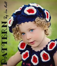 Patriotic Flower Summer Dress and Beret Set - Crochet Pattern by Ira Rott