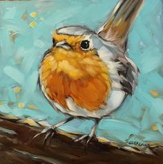 "Robin painting 6x6"" impressionistic original oil painting, Robin painting, bird art, bird paintings"