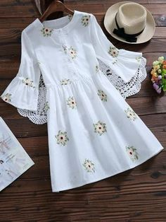 Spring and Summer No Floral Embroidery Round Mini A-Line Causal and Day Casual Floral Embroidered Flare Sleeve Dress Cute Casual Dresses, Simple Dresses, Day Dresses, Dresses With Sleeves, Dress Casual, Sleeve Dresses, Midi Dresses, Prom Dresses, Summer Dresses