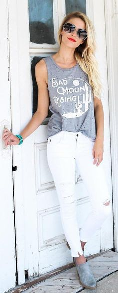 #summer #outfits  Grey Printed Tank + White Ripped Skinny Jeans + Grey Booties