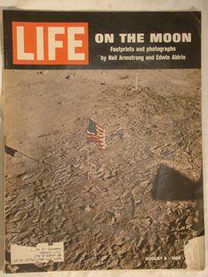 1969 Life Magazine August 8 1969 American Flag on The Moon vintage history